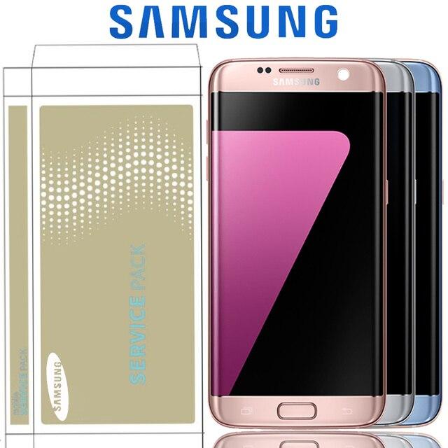 Pantalla de 5,5 ''con pantalla LCD de sombra de quemadura con marco para SAMSUNG Galaxy S7 Edge G935 G935F SM-G935F Touch digitalizador de pantalla táctil de la Asamblea