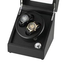 18*18*20.5 cm Size US/UK/AU/EU Plug Winding Box for Automatic Mechanical Watches Luxury Black Motor Box 2 Holder Case Winder Box цена