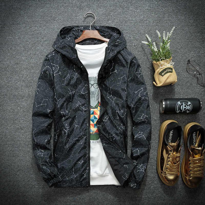 秋冬ジャケット男性薄型上着カジュアル恋人のヒップホップストリートウインドブレーカーフード付きジャケットジッパーパーカ新 2019 コート