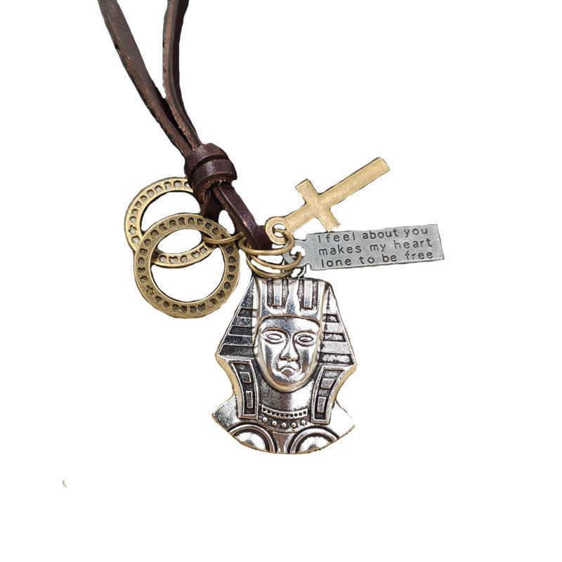 Retro Do Punk Colar 100% corda Couro Religião símbolo Egípcio Faraó Bronze Loop Cruz Carta Tag Presente de Aniversário Masculino AC099-100