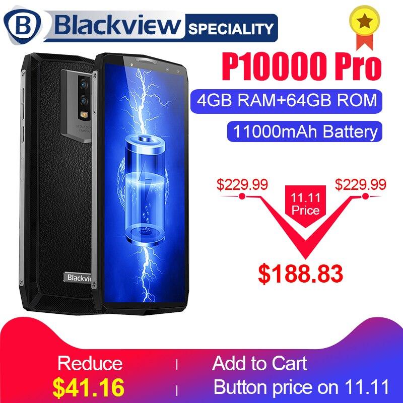 """Blackview P10000 Pro смартфон 5.99 """"в ячейке FHD + MT6763 Octa core 11000 мАч bak Батарея 5 В /5A 4 ГБ Оперативная память 64 ГБ Встроенная память мобильного телефона"""