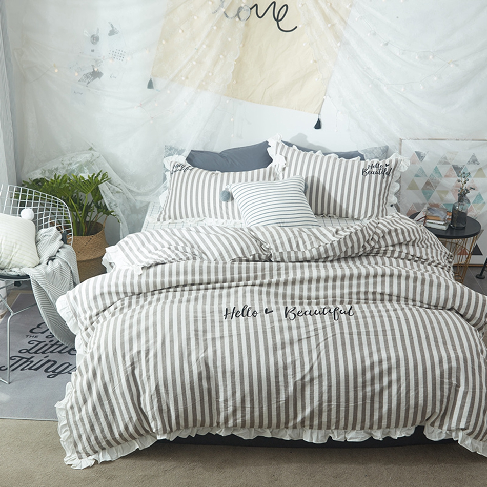 Where To Buy Nice Duvet Covers Us 95 37 49 Off Ruffle Stripes Duvet Cover Set 100 Cotton Bedding Sets Plaid Bed Sheet Beautiful Pillow Case 100 Washed Cotton Bedding Sets In