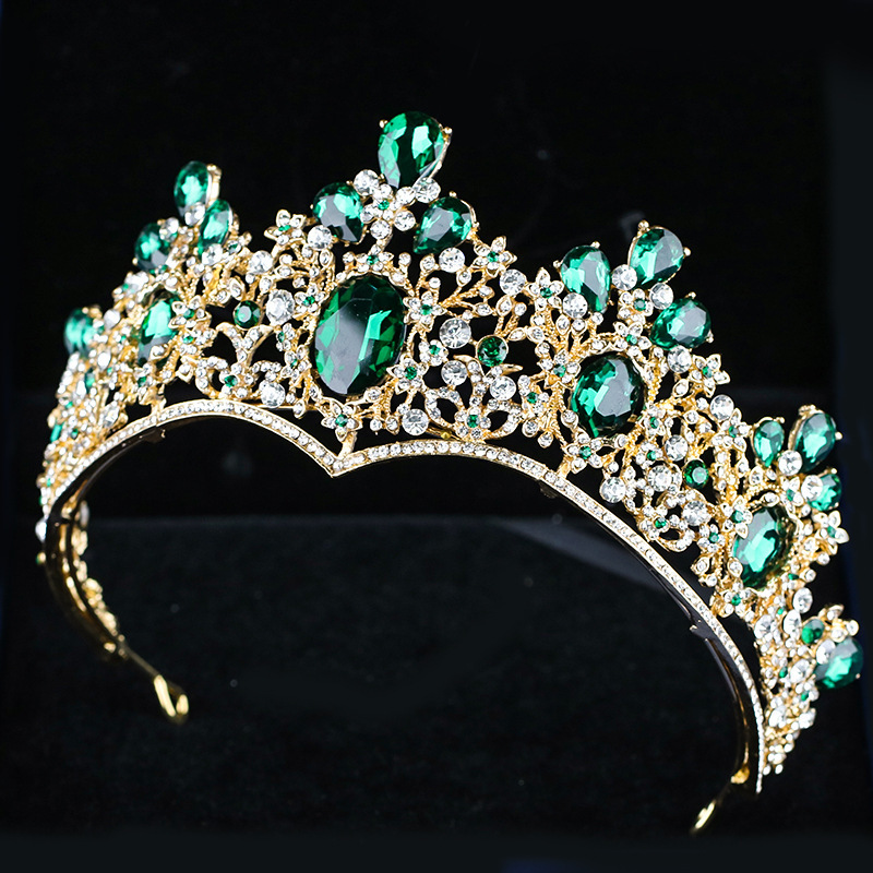 Baroque Red Blue Green Crown Crystal Bridal Tiaras Vintage Gold Hair Accessories Wedding Rhinestone Diadem Pageant Crowns 00009 red gold bride wedding hair tiaras ancient chinese empress hair piece