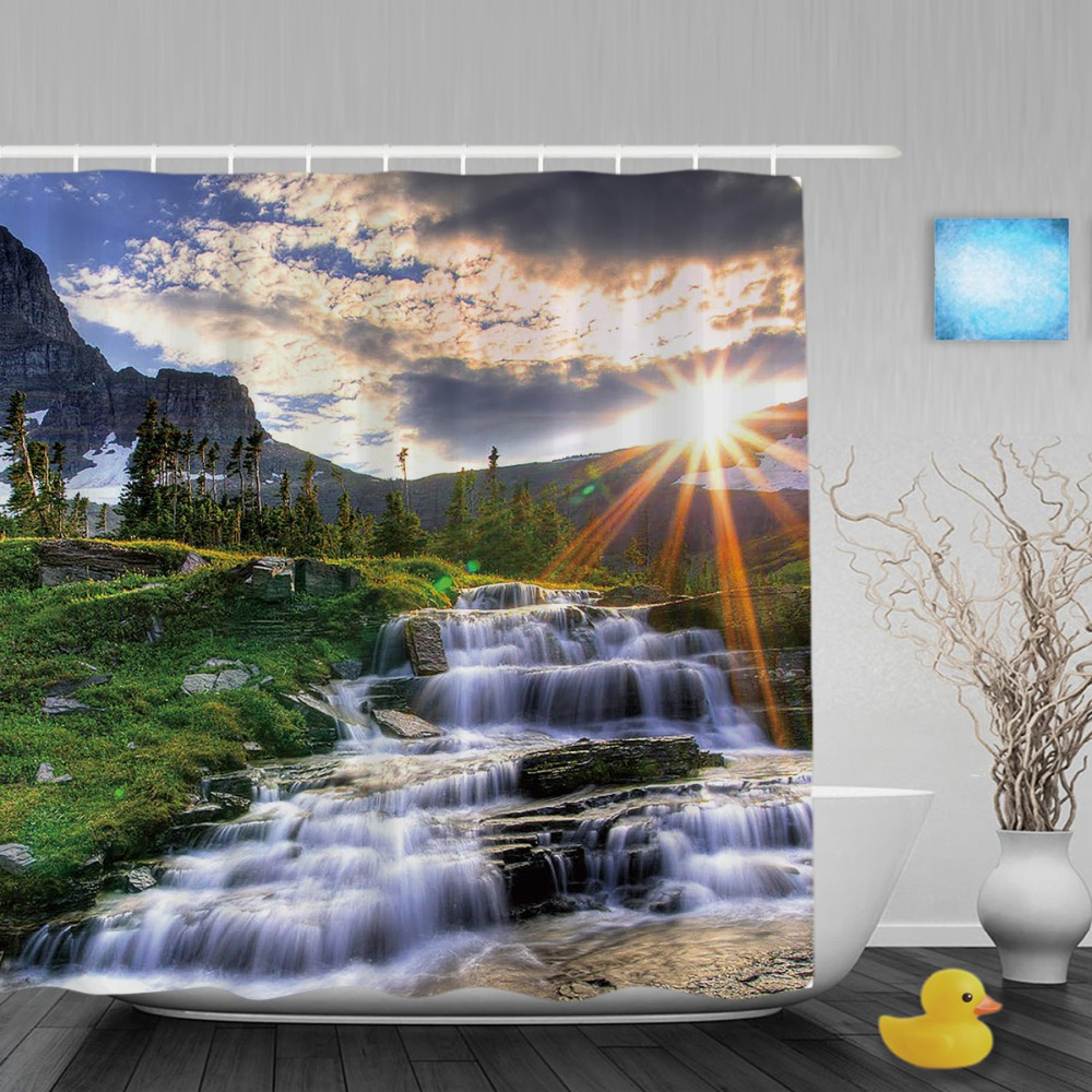 Natural Scenery Sunset Waterfall Shower Curtain Mountain Tree Bathroom  Curtain Waterproof Fabric Bathroom Shower Curtains(