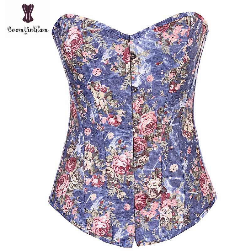 Cheap Wholesale Price Corset Jeans Fabric Bustier Top Body Shaper Women Rose Floral Sexy Outfit Daily Gorset Night Club Corselet