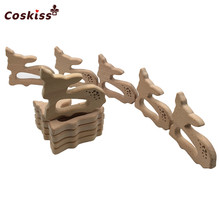 Beech Wooden Teether Aniamls Sika Deer Timber Roe Bambi Food Grade Wood DIY Nursing Necklace Charms Newborn baby Teething toy(China)