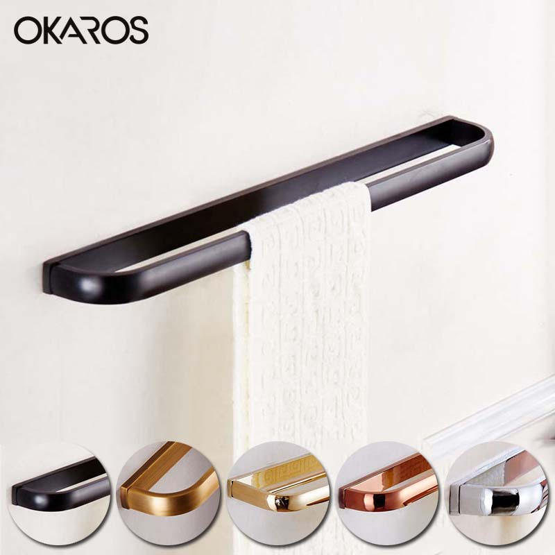 OKAROS Single Towel Bar Towel Rack Towel Holder Solid Brass Towel Hanger Chrome Gold Rose Golden Antique Black BathroomTowel Bar ceramic oil rubbed bronze crystal hanger towel rack holder single towel bar new