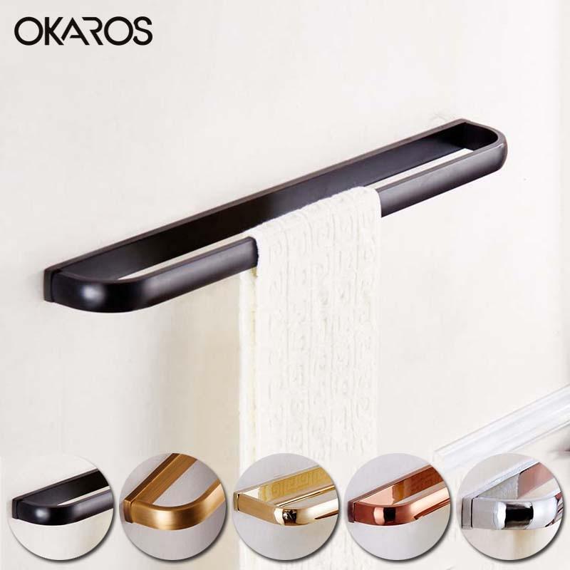 OKAROS Single Towel Bar Towel Rack Towel Holder Solid Brass Towel Hanger Chrome Gold Rose Golden Antique Black BathroomTowel Bar стоимость