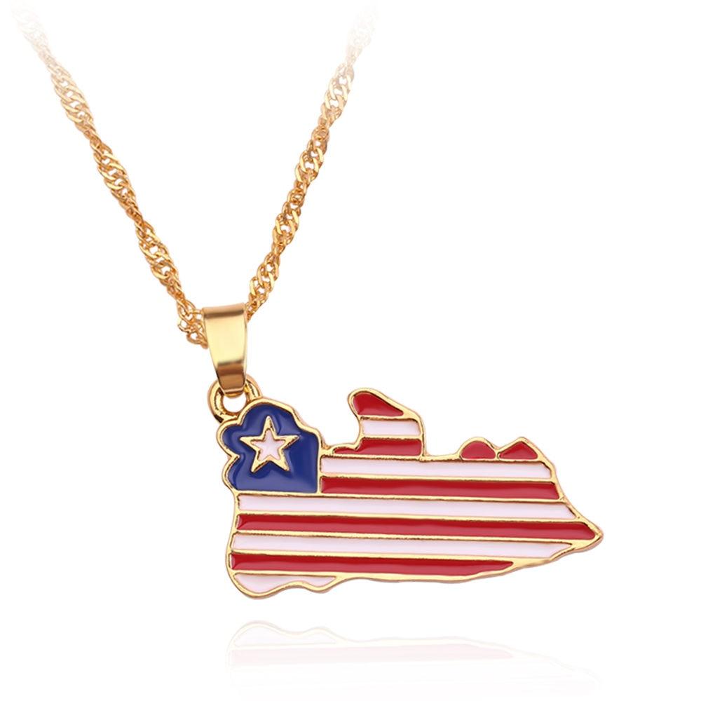 Новая карта страны, флаг, ожерелье, Африка, Гана, Liberia Undersea, Jamaica, Южная Африка, Congo, Honduras, подвеска, цепь, мужские ювелирные изделия - Окраска металла: Liberia