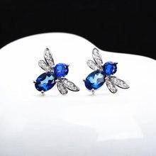 Женские серьги гвоздики из серебра 925 пробы с натуральным голубым