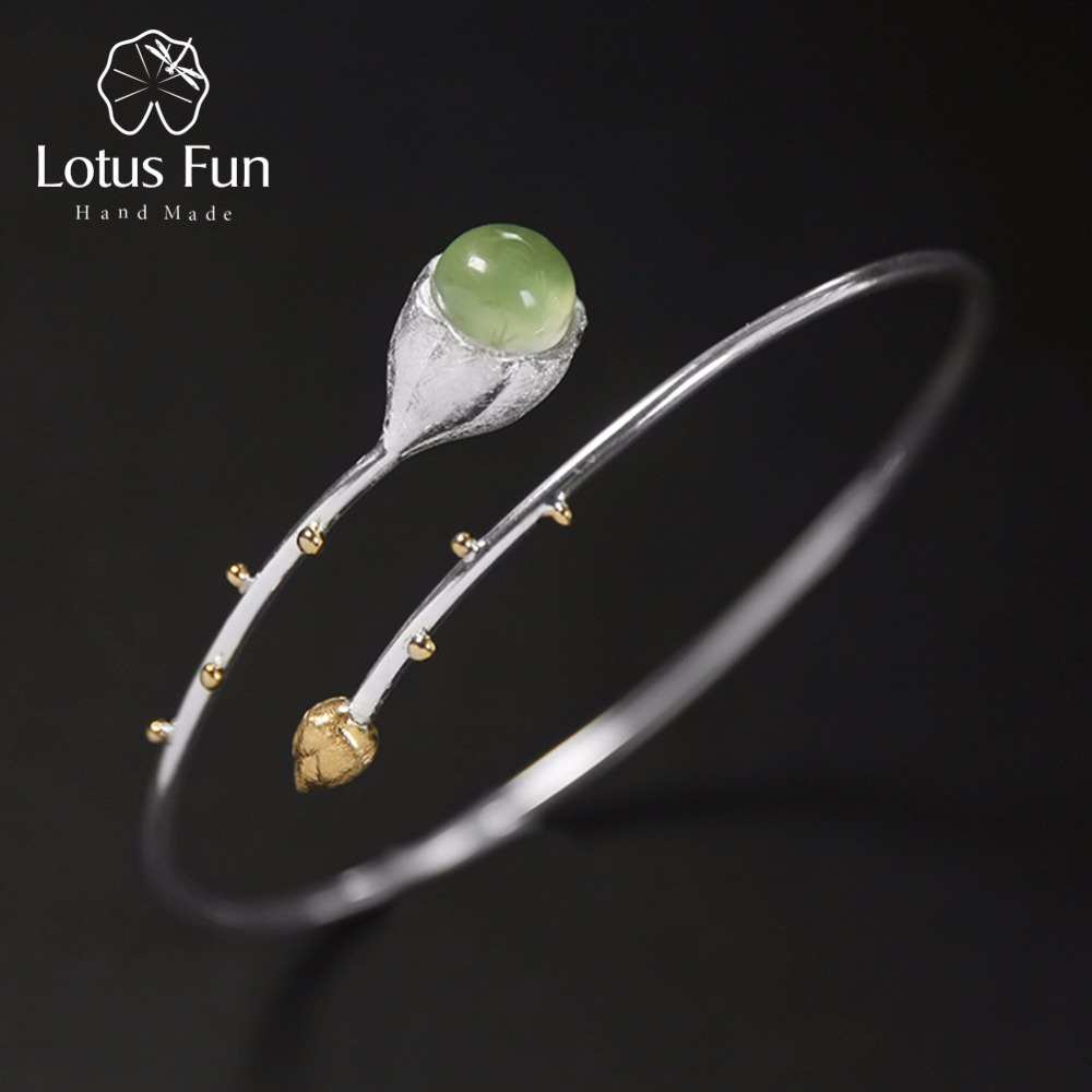 Lotus Fun Real 925 Sterling Silver Natural Stone Handmade Designer Fine Jewelry Elegant Lotus Buds Bangles