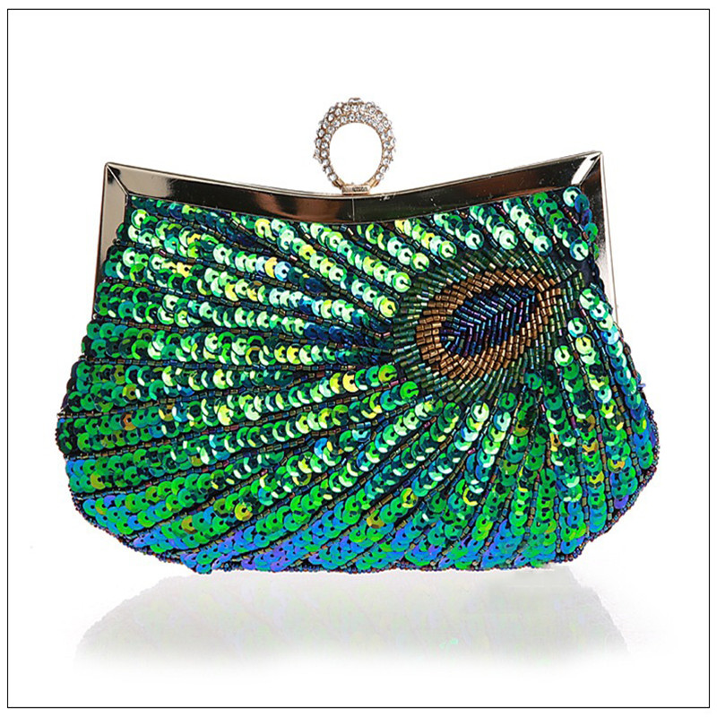 2018 PEACOCK Clutch Handbag,red green gold paillette Embroidery Ladies Evening Bag Wedding Party Purse Makeup Clutches WY23