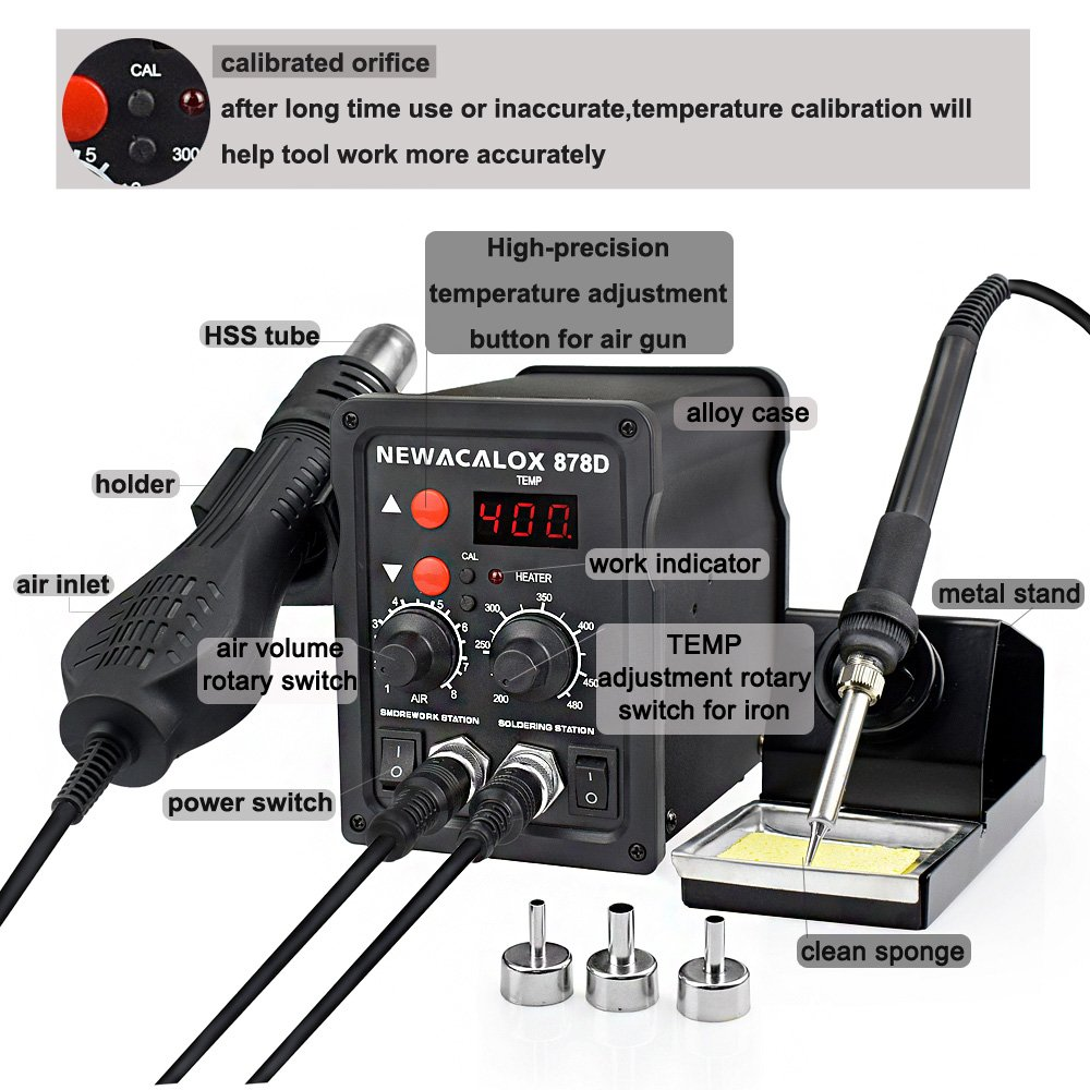NEWACALOX 8786D Digital Soldering Station for Welding and Hot Contraction Heating 17