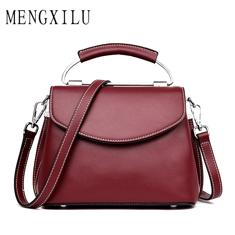 MENGXILU Genuine Cow Leather Women Bags Handbags Women Famous Brand Designer High Quality Real Leather Crossbody Bags 2018 Sac