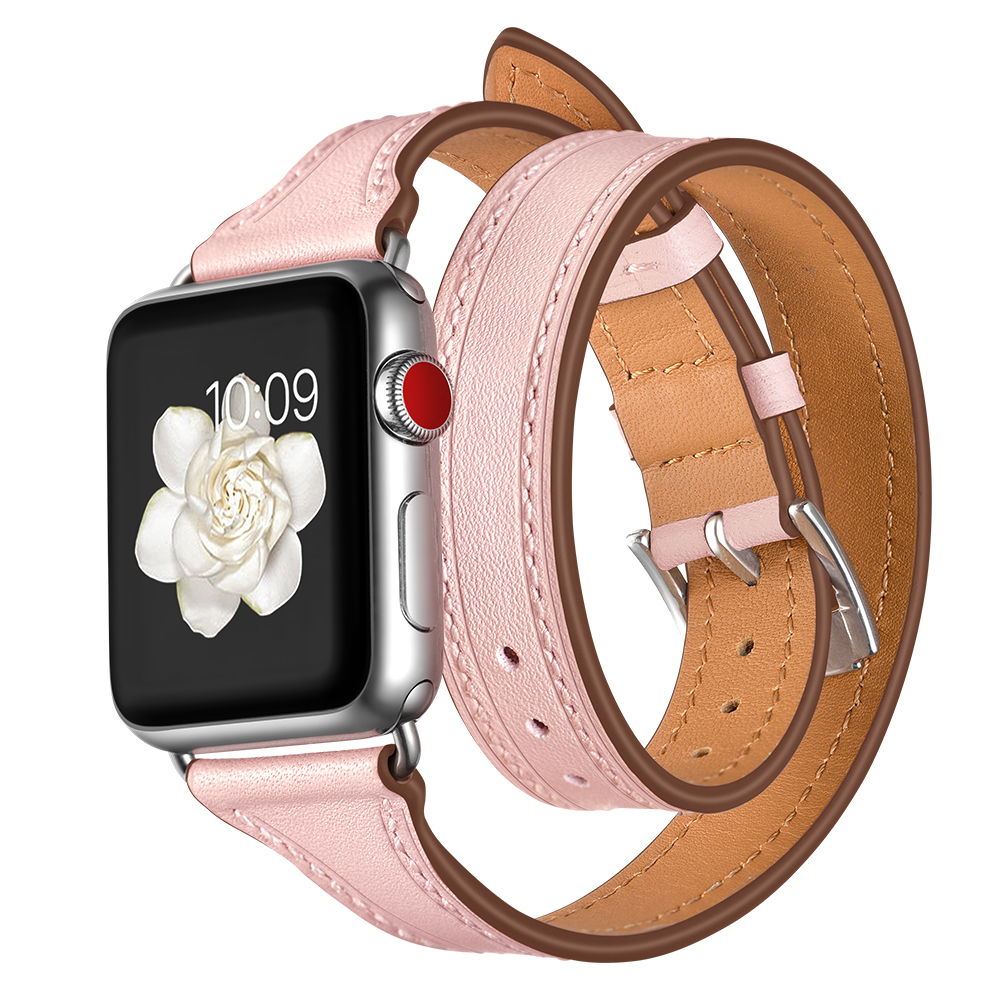 Genuine Leather Double Tour Strap For Apple watch bands 42mm 38mm iWatch Series 4 3 2 1 44mm 40mm Wrist Bracelet Watchband belt strap