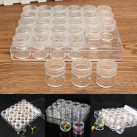 Clear Plastic Portable Mayitr Jewelry Storage Jar Rectangle Box With 30 Empty Small Round Container Jars