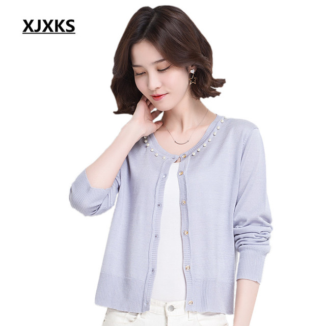 a870ce12c0a2 XJXKS Women Spring Small Cardigan Womens Sweaters 2018 Star Knitted Sweater  High Quality Thin Soft Cardigans