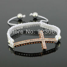 Sale 10pcs/lot Fashion Clear Crystal Rose Gold Color Curved Sideways Cross Connector Bead Adjustable White Macrame Rope Bracelet