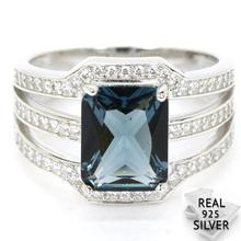 5.1g Real 925 Solid Sterling Silver Deluxe Top London Blue Topaz CZ Woman's Rings US 7#  20x14mm blue cz eyes 925 sterling silver halloween jason mask biker ring 9d205 us size 7 5 13