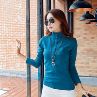 The New Autumn And Winter Women Long Sleeved Shirt And A Half High Collar Solid Color