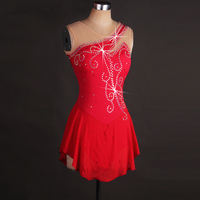 Figure Skating Dress Women's Girls Skating Dress Red Rhinestone Sequined High Elasticity Performance Practise Leisure Sports