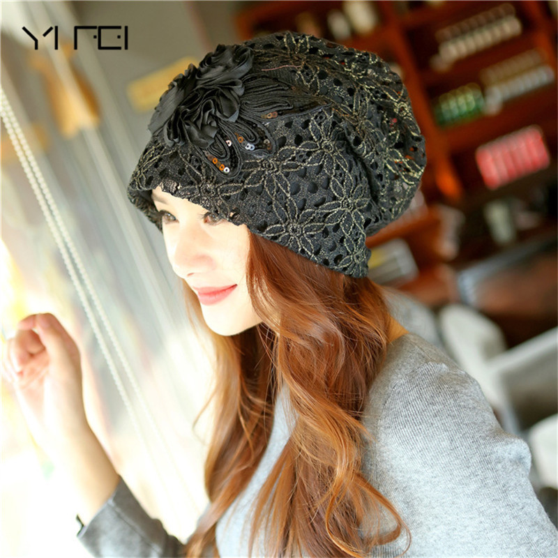 YIFEI 2017 Fashion Beanies Knitted Hat Warm Ski Caps Winter Hats For Women Ladies Casual Brand Skullies Beanie Lace Cap fibonacci winter hat knitted wool beanies skullies casual outdoor ski caps high quality thick solid warm hats for women