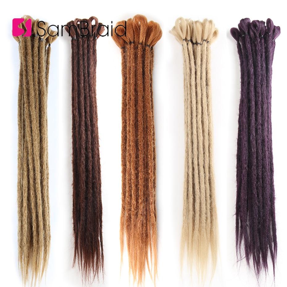 SAMBRAID Crochet Braid Dreadlocks Extensions Handmade Braiding Hair Extensions Pure Color Synthetic Dreads 20inches Reggae Hair