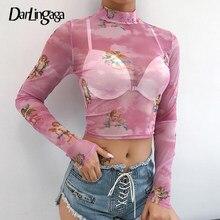 Darlingaga Casual Rosa transparente malla superior T camisa mujeres Cupido Angel imprimir Harajuku Tops recortados sexys camisetas de verano Camisetas 2020