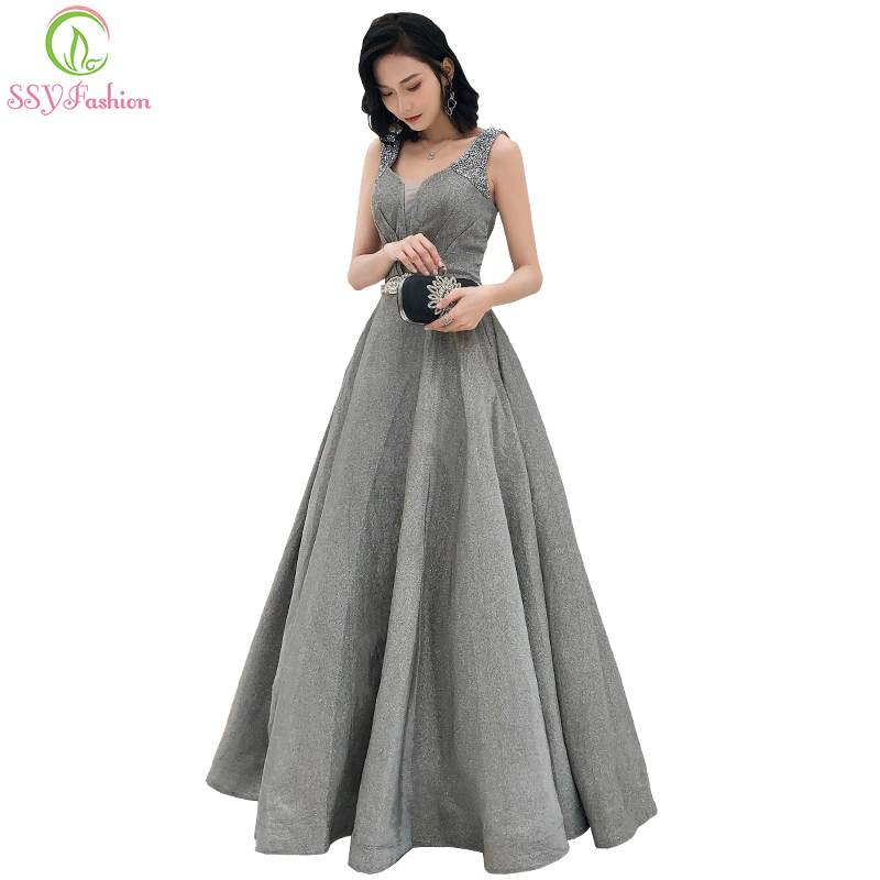 SSYFashion New Banquet Luxury Prom Dress V neck A line Sleevelss Grey Beading Evening Party Formal