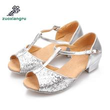 цены Zuoxiangru Women/Girls Latin Ballroom Dance Shoe Low Heel Kids/Adult Rumba Tango Samba Indoor Modern Dance Shoes Sandals