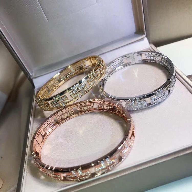 Haute qualité 925 sterling argent bracelets cristal coupe creux cut-retour bracelet Creative éléments culturels conception de mariage bijoux