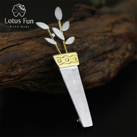 Extraordinary Exclusive Handmade Brooches Unique Potted Flower Pin Up Brooch 2015 Real 925 Sterling Silver Women