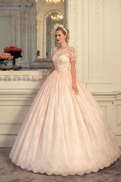 Blush Pink Wedding Dresses Vintage Dress 2017 Vestido De Novia Fotos Reales Peach