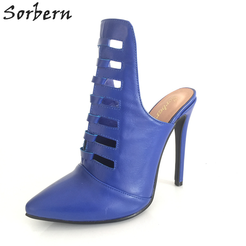 цена Sorbern Female Shoes Women Mules High Heels Hollow Out Stilettos Open Heeled Pretty Toes Small Shoes Size 34 Womens Christmas
