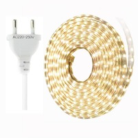 SMD 5050 Светодиодные ленты IP67 Водонепроницаемый светодио дный полосы 220 В гибкие Светодиодные ленты света 60 светодио дный s/m с ЕС Разъем 1 м 2 м 3 ...