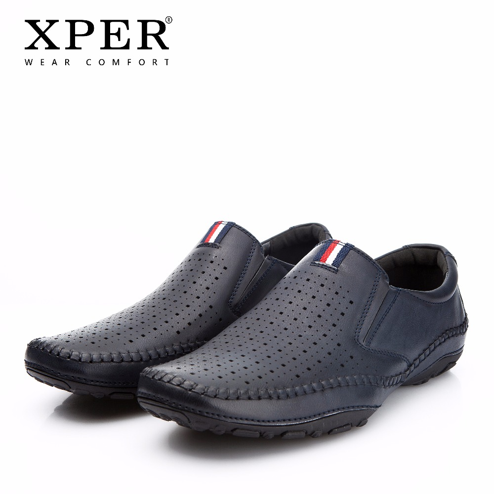 2018 XPER Brand Spring Summer Leather Casual Shoes Men Loafers Fashion Footwear Hole Male Walking Shoes Comfortable #YMD86877NY ifrich spring summer men leather fashion shoes black white male flat split leather shoes comfortable man casual footwear