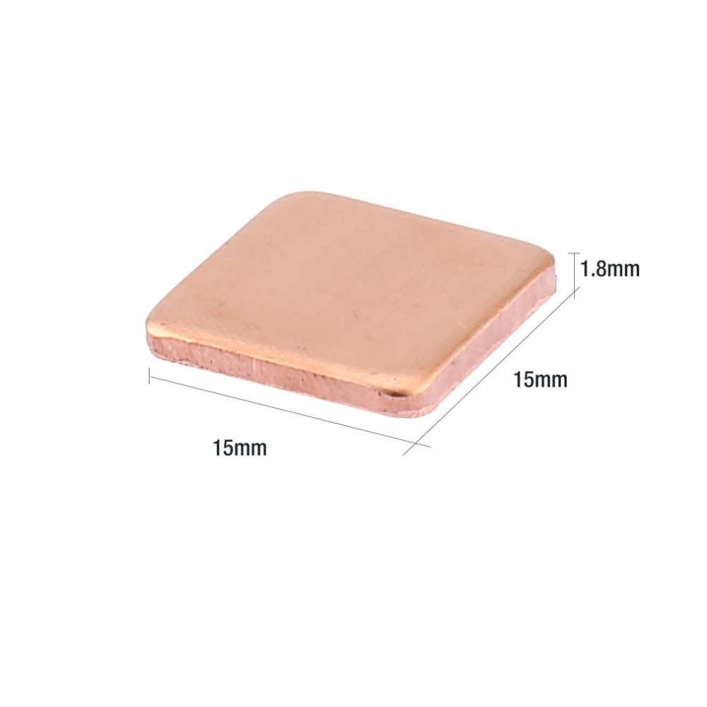 Tool Parts 10pcs Pure Copper Brass Heatsink Shim Thermal Pad Barrier for Laptop Graphics Card 15x15mm Fast Thermal Dissipation Specification: 1.8mm