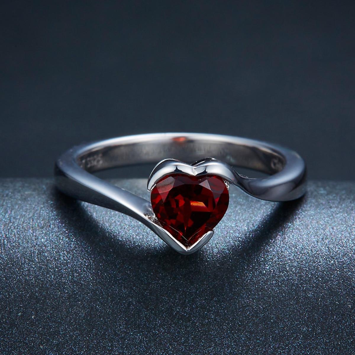 e5e711c445a9 DR04 anillo de corazón de rojo granate Natural piedra preciosa de Plata de  Ley 925 sólida joyería ...