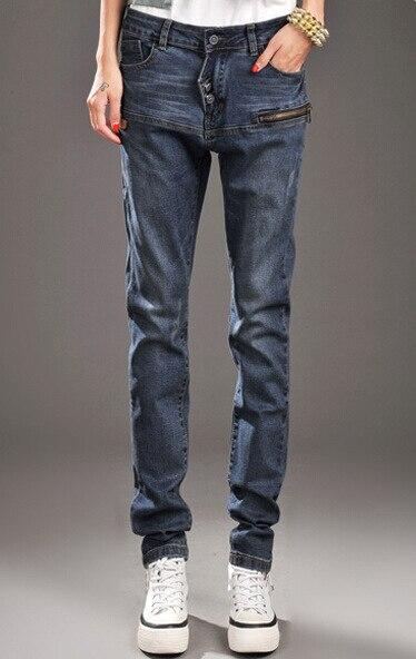 Осень Для женщин узкие брюки на каждый день, модные, облегающие брюки от «Harlan» больших размеров свободного кроя на застежке-молнии и на пуговицах женские джинсовые брюки джинсы - Цвет: Синий