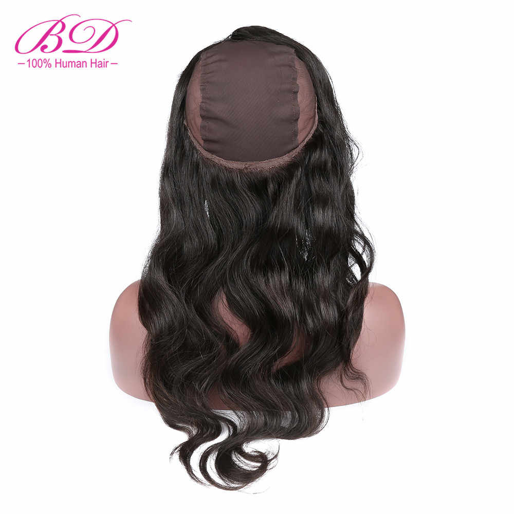 "BD Hair 360 Lace Frontal with Cap Free Part Body Wave Peruvian Human Hair Remy Hair 12-20"" Free Shipping"