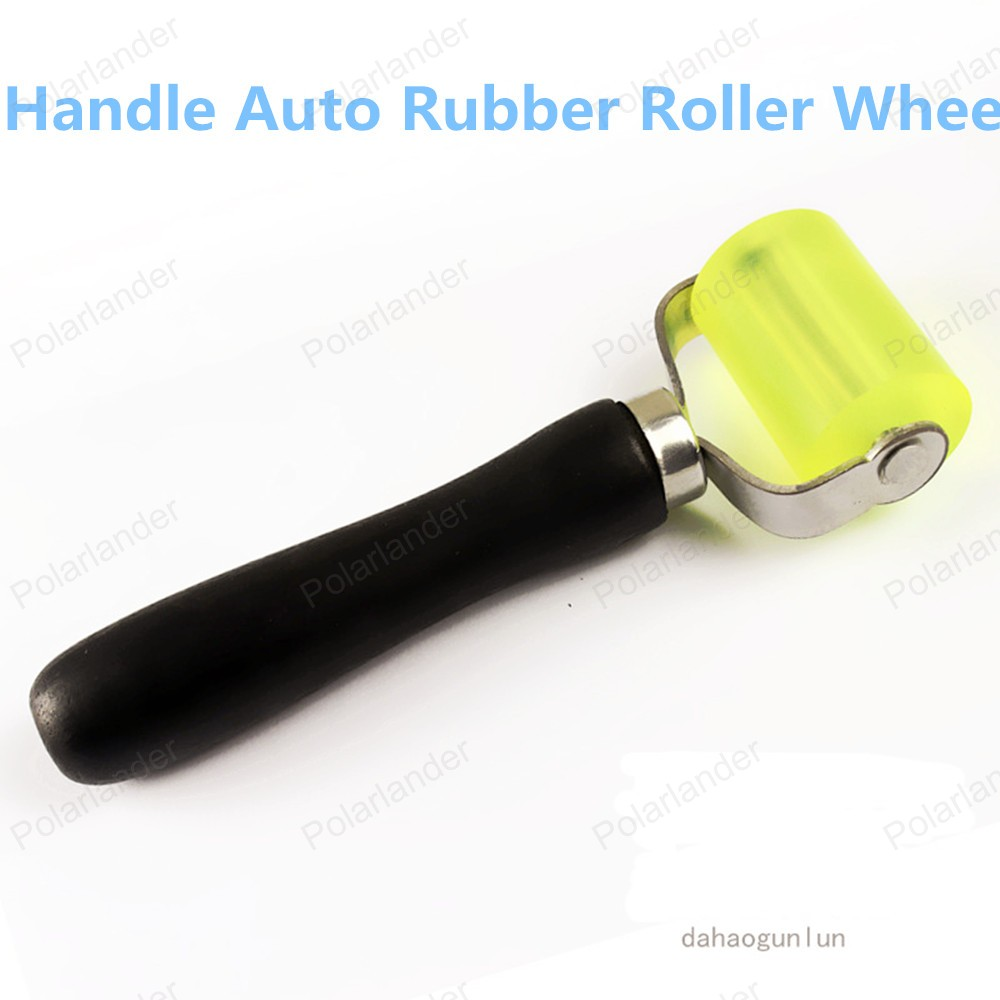 Wooden Handle Sound Deadening Rubber Roller Hand Roller Installation Tool Rolling Wheel Rubber Heat Insulation Tools Roller Heavy Duty 5cm x 3.5cm