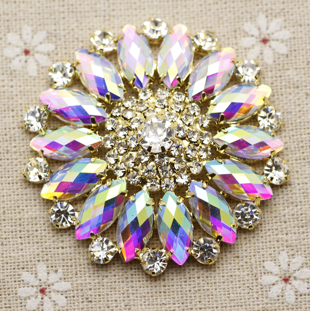 55mm Crystal AB Round Flower Sew Rhinestone With Claw Setting