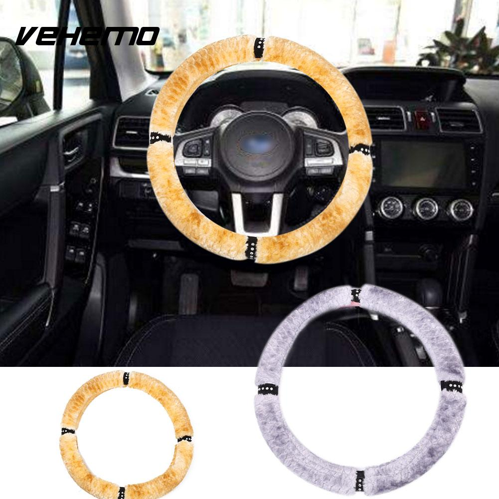 Vehemo Steering Wheel Cover Case Protector Wool Ultra Soft Autumn Winter Truck Automobile Steering Wheel Sleeve