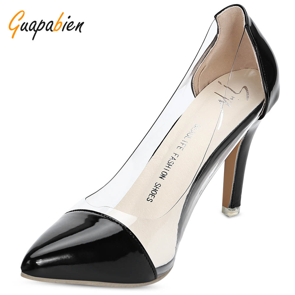 Guapabien 2017 New Fashion Elegant Pointed Toe See-Through High Heel Women Shoes Women PU Leather Sexy High Heels Summer Pumps new 2017 spring summer women shoes pointed toe high quality brand fashion womens flats ladies plus size 41 sweet flock t179
