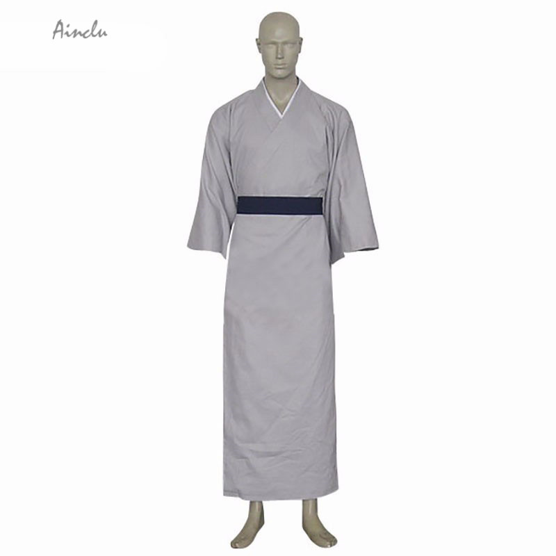 Ainclu Free Shipping New Gray Fruits Basket Shigure Sohma Sash Kimono Cosplay Manga Brand Costumes