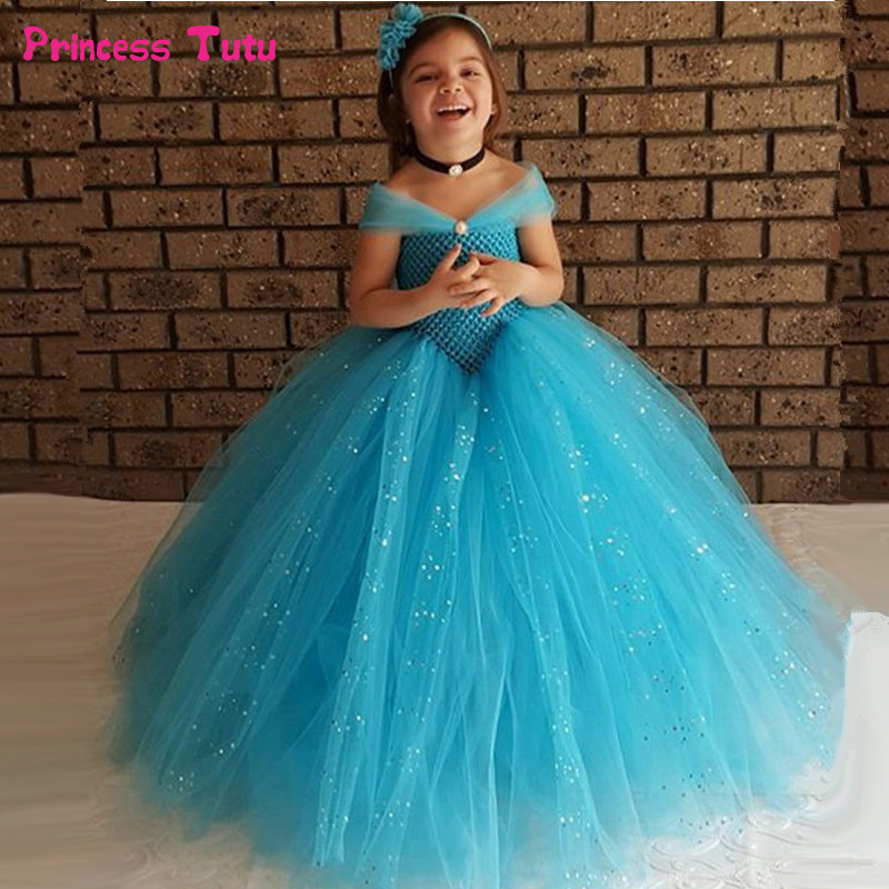 Glittery Girls Tutu Dress Elsa Belle Princess Dress Girls Party Dresses Pageant Gowns Baby Kids COS Beauty And The Beast Costume beauty and the beast belle princess tutu dress baby kids party christmas halloween cosplay costume flowers girls ball gown dress