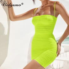 Colysmo 2 Layers Mesh Dress 2019 Summer Sleeveless Bodycon Party Women See Through Beach Sexy Ruched Mini Robe Neon