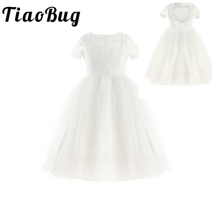 TiaoBug White Flower Girl Dresses Back Hollow Heart Shape First Communion Lace Dresses For Girls Princess Pageant Party Dress
