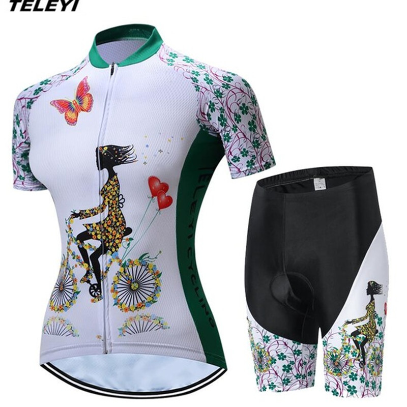 Green Cycling jersey MTB Bike Jersey bib shorts set Ropa Ciclismo maillot Women Cycling Clothing Girl bicycle Top Bottom Female|bib shorts set|jersey bib shorts|women cycling - title=