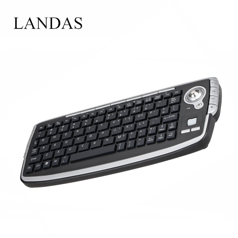 Landas 2.4G Wireless Trackball Keyboard with Fly Air Mouse For Android TV BOX Multifunctional Keyboard Scroll Wheel for PC HTPC image